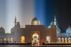 Μεγάλο μουσουλμανικό τέμενος στο Αμπού Ντάμπι στα εμιράτα Στοκ φωτογραφία με δικαίωμα ελεύθερης χρήσης