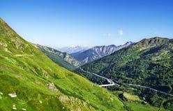 Μεγάλο πέρασμα Αγίου Bernard, αρχαίος δρόμος κατά μήκος της κοιλάδας Aosta Στοκ φωτογραφία με δικαίωμα ελεύθερης χρήσης