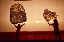 Μεγάλο παιχνίδι σκιών σε Wat Khanon/Ratcha Buri/την Ταϊλάνδη Στοκ Εικόνες