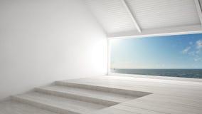 Μεγάλο πανοραμικό παράθυρο με το ωκεάνιο υπόβαθρο θάλασσας, θερινή σκηνή, em ελεύθερη απεικόνιση δικαιώματος