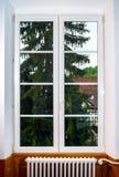 Μεγάλο παράθυρο PVC με τα στοιχεία διακοσμήσεων στο παλαιό γαλλικό σπίτι Στοκ Εικόνα