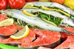 Μεγάλο πιάτο με τη φρέσκια γεμισμένη μπριζόλα ψαριών και σολομών Στοκ Εικόνα