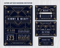 Μεγάλο πρότυπο σχεδίου γαμήλιας πρόσκλησης Gatsby Art Deco Στοκ Εικόνες