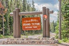 Μεγάλο σημάδι πάρκων Teton εθνικό Στοκ Εικόνες
