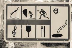 Μεγάλο σημάδι του θερέτρου θάλασσας με τα σύμβολα Στοκ Εικόνες