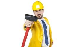 Μεγάλο σφυρί στα χέρια του επενδυτή Στοκ εικόνα με δικαίωμα ελεύθερης χρήσης