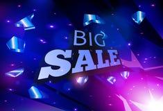 Μεγάλο σχέδιο εμβλημάτων πώλησης Αφηρημένη μπλε διανυσματική έκρηξη Στοκ Εικόνες
