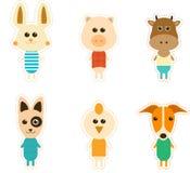 Μεγάλο σχεδιασμένο σύνολο χαριτωμένων ζώων Στοκ Εικόνα