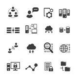 Μεγάλο σύνολο εικονιδίων στοιχείων, analytics στοιχείων, υπολογισμός σύννεφων ελεύθερη απεικόνιση δικαιώματος
