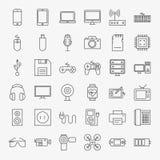 Μεγάλο σύνολο εικονιδίων σχεδίου τέχνης γραμμών συσκευών και συσκευών Στοκ φωτογραφία με δικαίωμα ελεύθερης χρήσης