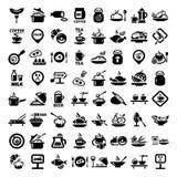 Μεγάλο σύνολο εικονιδίων τροφίμων Στοκ Εικόνες