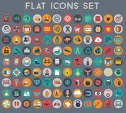 Μεγάλο σύνολο επίπεδων διανυσματικών εικονιδίων με τα σύγχρονα χρώματα Στοκ εικόνες με δικαίωμα ελεύθερης χρήσης