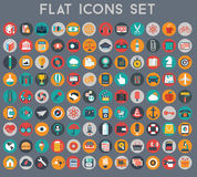 Μεγάλο σύνολο επίπεδων διανυσματικών εικονιδίων με τα σύγχρονα χρώματα Στοκ φωτογραφία με δικαίωμα ελεύθερης χρήσης