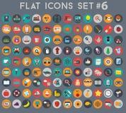 Μεγάλο σύνολο επίπεδων διανυσματικών εικονιδίων με τα σύγχρονα χρώματα Στοκ Εικόνα