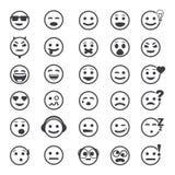 Μεγάλο σύνολο διανυσματικών εικονιδίων με τα πρόσωπα smiley Στοκ Εικόνα
