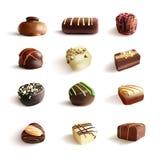 Μεγάλο σύνολο καραμελών σοκολάτας διανυσματική ρεαλιστική απεικόνιση Στο λευκό Στοκ Εικόνα