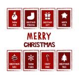Μεγάλο σύνολο καρτών Χριστουγέννων Στοκ Εικόνα
