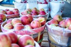 Μεγάλο σύνολο καλαθιών μπούσελ των φρέσκων παραγόμενων στην ίδια περιοχή κόκκινων μήλων στο lo στοκ φωτογραφία με δικαίωμα ελεύθερης χρήσης