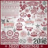 Μεγάλο σύνολο καλλιγραφικών στοιχείων σχεδίου Χριστουγέννων Στοκ Φωτογραφίες