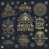 Μεγάλο σύνολο καλλιγραφικών στοιχείων σχεδίου Χριστουγέννων Στοκ Εικόνες
