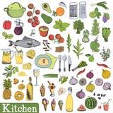 Μεγάλο σύνολο κουζινών Στοκ εικόνες με δικαίωμα ελεύθερης χρήσης