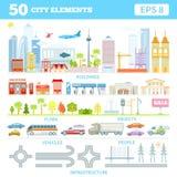 Μεγάλο σύνολο με τα στοιχεία πόλεων για να κάνει την πόλη σας Στοκ εικόνες με δικαίωμα ελεύθερης χρήσης