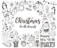 Μεγάλο σύνολο στοιχείου σχεδίου Χριστουγέννων στο ύφος doodle Στοκ Εικόνα