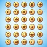 Μεγάλο σύνολο στρογγυλής άγριας δύσης παιχνιδιών στον υπολογιστή κινούμενων σχεδίων κουμπιών απεικόνιση αποθεμάτων