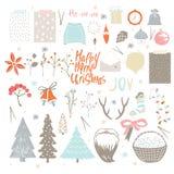 Μεγάλο σύνολο συμβόλων Χριστουγέννων διανυσματική απεικόνιση