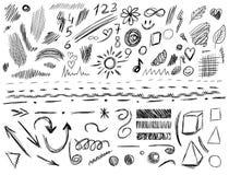 Μεγάλο σύνολο 105 χέρι-σκιαγραφημένων στοιχείων σχεδίου, ΔΙΑΝΥΣΜΑΤΙΚΗ απεικόνιση που απομονώνεται στο λευκό Μαύρες γραμμές κακογρ Στοκ Φωτογραφίες