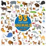 Μεγάλο σύνολο 93 χαριτωμένων ζώων κινούμενων σχεδίων του κόσμου ελεύθερη απεικόνιση δικαιώματος