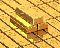 Μεγάλο σύνολο χρυσών φραγμών Στοκ εικόνα με δικαίωμα ελεύθερης χρήσης