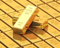 Μεγάλο σύνολο χρυσών φραγμών Στοκ εικόνες με δικαίωμα ελεύθερης χρήσης