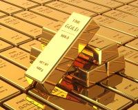 Μεγάλο σύνολο χρυσών φραγμών Στοκ Εικόνες