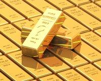 Μεγάλο σύνολο χρυσών φραγμών Στοκ φωτογραφία με δικαίωμα ελεύθερης χρήσης