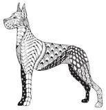 Μεγάλο τυποποιημένο, ελεύθερο μολύβι σκυλιών Δανών zentangle, χέρι που σύρεται Στοκ εικόνα με δικαίωμα ελεύθερης χρήσης