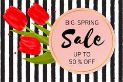 Μεγάλο υπόβαθρο πώλησης ανοίξεων με τα όμορφα λουλούδια Στοκ φωτογραφία με δικαίωμα ελεύθερης χρήσης