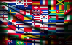 Μεγάλο υπόβαθρο σημαιών φιαγμένο από σημαίες παγκόσμιων χωρών Στοκ Φωτογραφίες