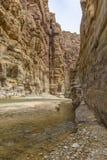 Μεγάλο φαράγγι της Ιορδανίας, φυσική επιφύλαξη Al Wadi mujib Στοκ Εικόνες