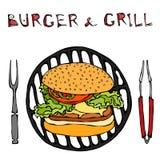 Μεγάλο χάμπουργκερ ή Cheeseburger με BBQ τη σχάρα, τις λαβίδες και το δίκρανο για τη σχάρα Burger εγγραφή η ανασκόπηση απομόνωσε  απεικόνιση αποθεμάτων