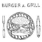 Μεγάλο χάμπουργκερ ή Cheeseburger με BBQ τη σχάρα, τις λαβίδες και το δίκρανο για τη σχάρα Burger εγγραφή η σκούπα απομόνωσε το λ ελεύθερη απεικόνιση δικαιώματος