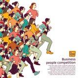 Μεγάλο χρώμα ανταγωνισμού ομάδας επιχειρηματιών απεικόνιση αποθεμάτων
