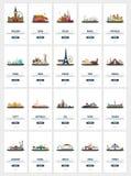 Μεγάλο colletion των οθονών ταξιδιού για κινητό app ή UI, UX Στοκ φωτογραφία με δικαίωμα ελεύθερης χρήσης
