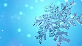 Μεγάλο Snowflake Χριστουγέννων με τα μόρια χιονιού επάνω απεικόνιση αποθεμάτων