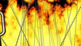 Μεγέθυνση μέσω των αλυσίδων στην πυρκαγιά απόθεμα βίντεο