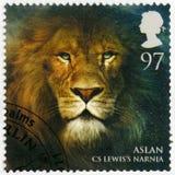 ΜΕΓΑΛΗ ΒΡΕΤΑΝΊΑ - 2011: παρουσιάζει πορτρέτο Aslan, Narnia, μαγικές σφαίρες σειράς στοκ εικόνες με δικαίωμα ελεύθερης χρήσης