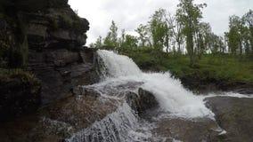 Μεγαλοπρεπής καταρράκτης βουνών γλυκού νερού στη βαθιά αγριότητα φιλμ μικρού μήκους