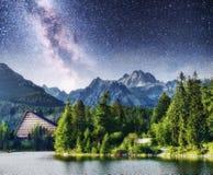 Μεγαλοπρεπής λίμνη βουνών στο εθνικό πάρκο υψηλό Tatra Έναστρος ουρανός και γαλακτώδης τρόπος Pleso Strbske, Σλοβακία, Ευρώπη Στοκ Εικόνες