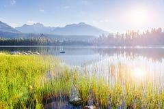 Μεγαλοπρεπής λίμνη βουνών στο εθνικό πάρκο υψηλό Tatra Pleso Strbske, Σλοβακία Στοκ εικόνες με δικαίωμα ελεύθερης χρήσης