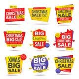Μεγαλύτερο διάνυσμα εμβλημάτων πώλησης προσφοράς Χριστουγέννων Τρελλή αφίσα πώλησης απομονωμένη ωθώντας s κουμπιών γυναίκα έναρξη διανυσματική απεικόνιση